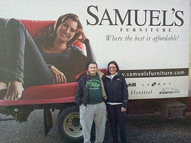 Congresswoman Suzan Delbene with a Samuel's mattress recipient